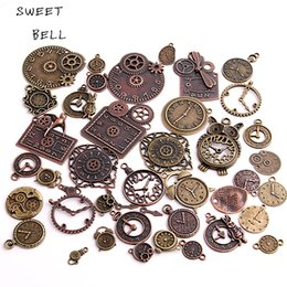Wholesale Zinc Alloy Jewelry Wholesale - SWEET BELL 20pcs Vintage Metal Zinc Alloy Mixed Clock Pendant Charms Steampunk Clock Charms for Diy Jewelry Making H3012