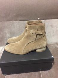 Wholesale Leather Cowboy Boot Straps - NEW Handmade MID beige slp Man Paris catwalk fashion suede leather Jodhpur leather strap Boots Chelsea Boots
