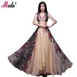Wholesale High Empire Waist Evening Gowns - 2017 Summer Vintage Floral Dress 2017 High Waist V-neck Long Dress robe longue femme Evening Party Elegant Women Dress Maxi