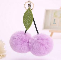 Llavero de cereza online-El último estilo 13 colores Floppy Cherry Fur Fur Rabbit Hair Ball Llaveros Llavero Hebilla Llavero Bolsa de coche colgante