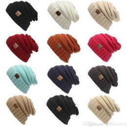 Wholesale Wholesale Wool Skully Hats - Winter Trendy Warm Hat Knitted CC Women Simple Style Chunky Soft Stretch Cable Men Knitted Beanies Hat Beanie Skully Hats Colors