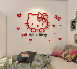 Wholesale Online Mirrors - Hello Kitty Walls Stickers 3D Wall Stickers Online Mirror Design Glass Removable Small Wall Stickers For Kids Room LLFA