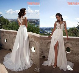 Wholesale Sexy Red Short Beach - Elegant A-Line Chiffon Beach Wedding Dresses 2016 Sheer Neck Lace Appliques Cap Sleeves Thigh-High Slits Bridal Gowns Custom Made Sexy Back