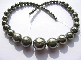 Wholesale Per Gold Necklace - genuine pyrite necklace 4-15mm ,high quality round ball gold iron jewelry beads--2strands 16inch per