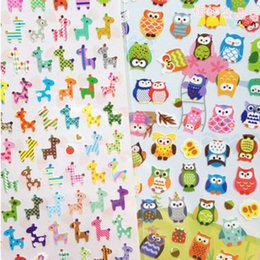 Wholesale Giraffe Sheets - Wholesale- 1 Sheet DIY Cartoon Giraffe transparent Sticker Lovely Calendar Deco Owl Sticker Writing Memo Pad for Children Gift Stationery