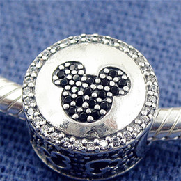 Wholesale Icon Bead - New 100% S925 Sterling Silver Mickey & Minnie Sparkling Icons Charm Bead with Clear and Red Cz Fits European Pandora Jewelry Bracelets