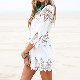 Wholesale White Cotton Beach Dress - 2017 Summer Boho Women Beach Mini White Dress Elegant Half Sleeve O Neck Lace Floral Crochet Hollow Out Solid Beach Dress Vestidos