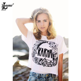 """Wholesale Letter Navel - Wholesale-Lei-SAGLY """"Karma"""" Printed Partten T-shirt Fashion Short Sleeve Dew Navel Crop Tops Sexy Fitness Women Sexy T shirts F982"""