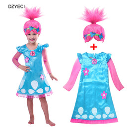 Wholesale Tutu Frocks - Trolls Costume For Girl Dresses+Wig New Teenager Kid Poppy Lace Princess Dress Children Party Clothes Elza Deguisement Frock Ariel Robe
