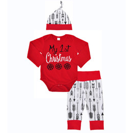 Wholesale Hat Wholesale England - Baby Girls Boys Christmas Letter Outfits Toddler Long Sleeve Tops + Pants + Hats 3Pieces Clothing Sets Kids Cotton Boutique Clothing