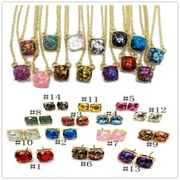 Wholesale Turquoise Necklace Black Flower - Hot Popular Druzy Necklace Earrings Various fantasy Colors opal Square Stone stud earrings Gold Plated for women Jewelry Lady