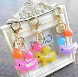 Wholesale Car Key Holder Good - Good A++ Creative cartoon cute acrylic jelly color calf car key holder bag ornaments small pendant KR333 Keychains mix order 20 pieces a lot
