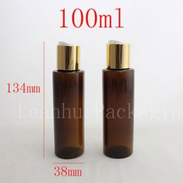 Wholesale Spa Bottles - 100ml X50 brown colored empty PET travel bottle with gold aluminum disc top cap press,family oil DIY spa bottles container 100ml