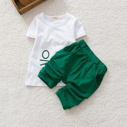 Wholesale Boys Shorts Pants Set - Summer season boys girls suit 2pcs sets short sleeve t shirt children cute clothing baby shirt pant