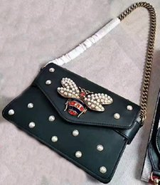 Wholesale Envelope Small Bag - New style women Fashion brand newest design bee pearl embellished cover falp calfskin genuine leather handbags Shoulder Bags Envelope bag