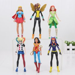Wholesale Doll Figurine Wholesale - 6 pieces   set DC Super Hero Girls Batgirl Poison Ivy Bumble Bee Harley Quinn Wonder Woman Figurine Dolls Toys 15 cm