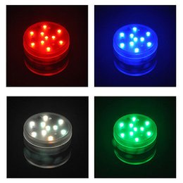 Wholesale Led Fish Tank Lights - 10 LED Submersible Waterproof Remote Control Colorful Lights led Decoration Candle Wedding Party High Quality Indoor Lighting for fish tank
