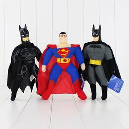 Wholesale Anime Batman Toy - 24-27cm 3 Styles Super Hero Superman Batman Plush Toy Soft Stuffed Doll Toy for Kids Gift Toy Free Shipping Retail