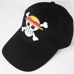 Wholesale One Piece Luffy Hat - The new Cartoon hat Anime One Piece Cap Sunhat Luffy hat Baseball hat child Cotton Sunhat