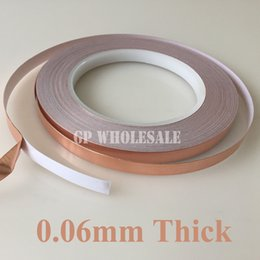 Wholesale Rolled Copper Foil - Wholesale- 2016 1 Roll 5mm*30M*0.06mm Self-Adhesive Copper Foil Tape for Magnetic Radiation  Electromagnetic Wave EMI Shielding Masking
