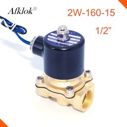 Wholesale Gas Solenoid Valve - 2W-160-15 Brass direct acting 1 2 inch G thread normally closed Gas solenoid valve 12v 24v dc