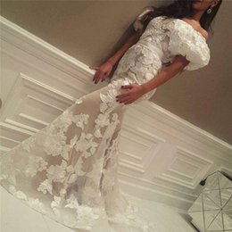 Wholesale Design Evening Dresses - 2017 Yousef Design Prom Dresses Mermaid puffy Sleeves Evening Dresses Off the Shoulder Waist Sash Lace Fabric Sweep Train