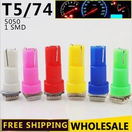Wholesale Blue Dashboard Lights - 20pcs per bag T5 5050 Instrument Cluster Lamp Car Dashboard Light Indicator Lights LED Interior Light Car Styling 1 SMD