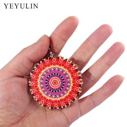Wholesale Wooden Ethnic Earrings - 2017 New Fashion Classic Printing Flower Colorful Wooden Earrings Indian Brazil Ethnic Style Ear Jewelry For Woman Girls 12 pair