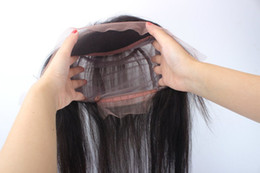 Wholesale Hair Band For Wigs - pre plucked Natural Black Lace Front Elastic Band Brazilian Human Hair Glueless Straight 360 Lace Frontal with Baby Hair for Black Women