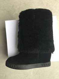 Wholesale Motorcycle Height - hot selling fashion boots women height increasing shoes fur inside warm boots ankle winter shoes suede leather wedges sneakers high tops
