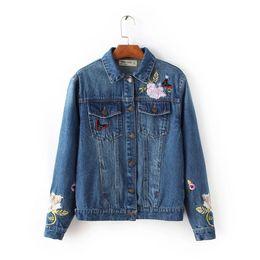 Wholesale Floral Jean Jacket - Wholesale- FH - 85-90 # New England wind autumn fashion fashion embroidery jean jacket coat lapels