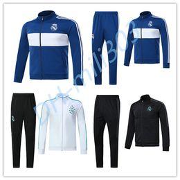 Wholesale Track Jogging Suits - 17 18 Real Madrid Soccer Tracksuit Jacket Suit Track Suit 2017 2018 Ronaldo Jogging Football Tops Coat Pants Adults jacket Training kit