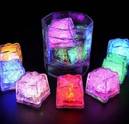 Wholesale Wholesale Glowing Ice Cubes - LED Ice Cubes Water Sensor Sparkling Luminous Multi Color Glowing Drinkable Deco Party Luminous Led Ice Cubes Wedding Decoration KKA1539