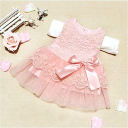Wholesale Little Girls Wedding Outfits - Wholesale- 2016 New Cute Infant Baby Girls Outfits Kids Children Lace Voile Wedding Party Dresses Little Girl Clothes