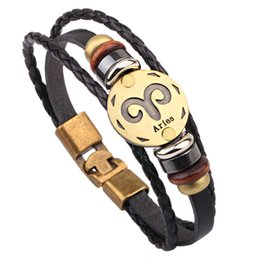 Wholesale Zodiac Sign Wholesale - Wholesale 12 Zodiac Signs Bracelets Hot Vintage Unisex Leather Cuff Bracelets Fashion Jewelry Handmade Beaded Punk