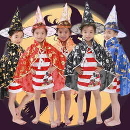 Wholesale Wholesale Childrens Party Dresses - 6 Colors Halloween Supplies Childrens Dressing Dancers Five-star Cloak Cloak Cosplay Witch Hat Clothing Party Props CCA7109 50pcs