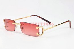 Wholesale Girls Grey Pink Legging - 2017 Men Buffalo Horn Glasses Women Frames Rimless Sunglasses Brands Designer Gold Metal Leg Eyewear Clear Brown Lens Gafas De Sol