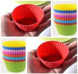 Wholesale 12 Cup Cake Pan - 7cm Round Shaped Silicone Cake Baking Molds Jelly Mold Silicon Cupcake Pan Muffin Cup 12 Colors Party Accessory Baking Cup Mold