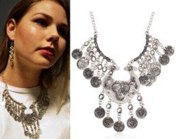 Wholesale Bib Scarf Pendant - Ethnic Gypsy Coachella Beach Bib Boho Turkish Retro Silver Dangling Coin Necklace Bohemian Jewelry Cheap jewelry scarf necklace