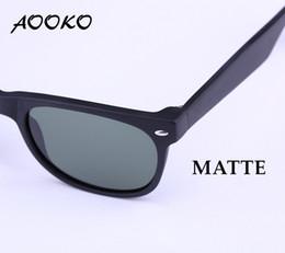Óculos de sol azul on-line-AOOKO Venda Quente Nova Clássica Óculos de Sol fosco preto TARTARUGA quadro de Vidro de proteção UV G15 Verde AZUL VERMELHO Lente óculos de Sol 52mm 55mm