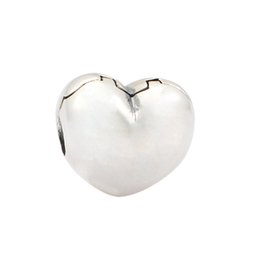 Wholesale European 925 Stopper Bead - Wholesale- 100% 925 Sterling Silver Beads Love Heart Clip Stopper DIY Fashion Jewelry Charm Fits European Bracelets & Necklaces
