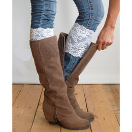 Wholesale Wholesale Hollow Knee Boots - Wholesale- 2016 Fashion Women Leg Warmers Hollow Out Flower Design Elastic Lace Toppers Knee Pad Girls Boot Cuffs 9 colors High Quality
