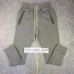 Wholesale Drawstring Sweat Pants - Wholesale-Best quality 2016 winter fear of god fog Drawstring Sweat pants zipper classic kanye west cotton jogger