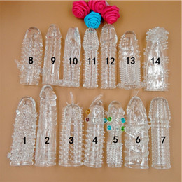 Wholesale Sexy Condoms - Crystal Cock Rings Adult Sex Products Reusable Condom Sexy Toys Penis Sleeves Penis Extension Cock Rings