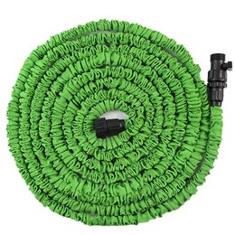 Wholesale Expandable Gun Nozzle - Wholesale- EE support Car Washer 25 50 75 100FT Magic Flexible Expandable Anti-wear Water Hose With Valves (Without Nozzle Gun) Green XY01