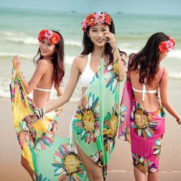 Wholesale A1 Covers - A1-A6 Women Beach Dress Sexy Sling Beach Wear Dress Sarong Bikini Cover-ups Wrap Pareo Skirts Towel Open-Back Swimwear 100pcs Free DHL Fedex