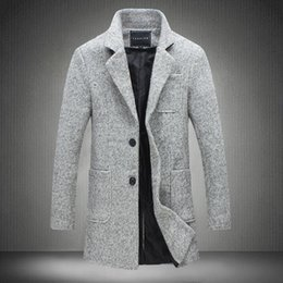 Wholesale Male Wool Overcoat - Wholesale- 2017 New Long Trench Coat Men Brand Clothing Winter Fashion Mens Overcoat 40% Wool Thick Grey Trench Coat Male Jacket Plus M-5XL