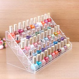 Wholesale Clear Acrylic Nail Rack - Wholesale-HIGH QUALITY Clear Acrylic Beauty Makeup Nail Polish Storage Organizer Rack Display Stand Holder 65 Bottles Drop Shipping