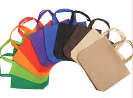 Wholesale Custom Printed Shopping Bags Wholesale - Wholesale- 2016 Wholesale 500pcs lot 3 Sizes10 Colors Custom Printing logo Recycle Non Woven Shopping Bags with Snap Free Shipping