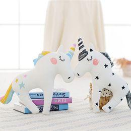 Wholesale baby sofa toys - Cute Unicorn Horn Sleep Pillow Baby Kids Plush Toy Sofa Car Cushion Decorative Pillow Children Plush Doll